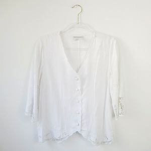 Soft Surroundings Eyelet Button Up White Top